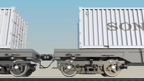 Railway transportation of containers with Sony Corporation logo. Editorial 3D Footage