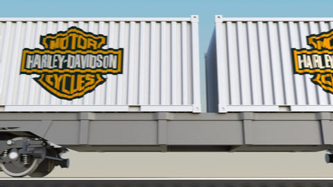 Railway transportation of containers with Harley-Davidson, Inc. logo. Editorial Footage