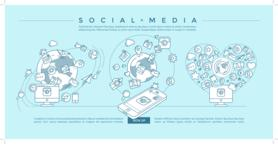 Social Media Blue Linear Illustration Vector