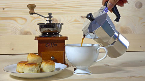 coffee of drinking and Chinese Pastry, sweet and tasty salty snack Footage