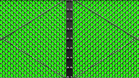 Silver Wire Mesh Gates On Green Chroma Key Animation
