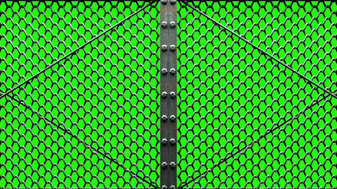 Wire Mesh Gates On Green Chroma Key Animation