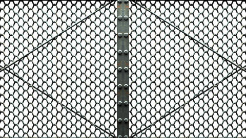 Wire Mesh Gates On White Background Animation