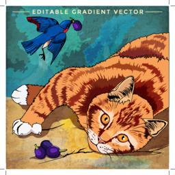 Cat and Bird Illustration Vector
