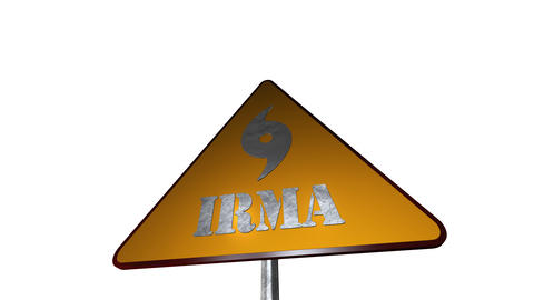 Irma Hurricane Road Sign Isolated On White Background 3D Renderi Foto