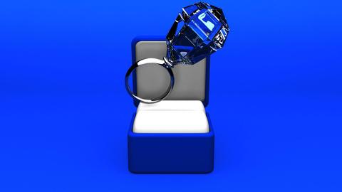Big Diamond Ring On Blue Background CG動画