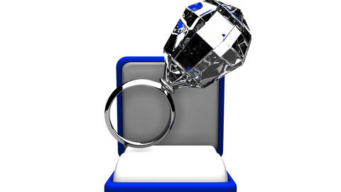 Big Diamond Ring On White Background Animation