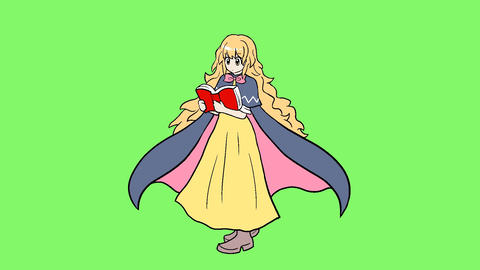 Wizard girl blonde hair CG動画