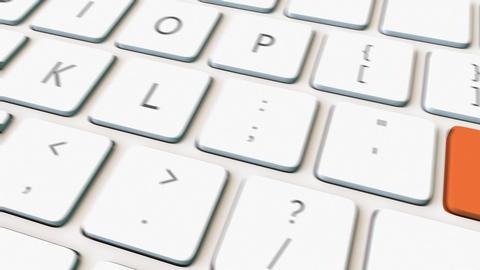White computer keyboard and orange retire key Footage