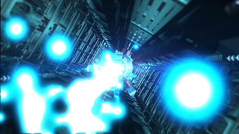Abstract sci-fi spaceship corridor with blue laser 画像