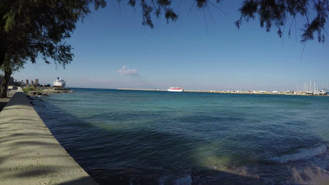 sea coast near Rhodes port, Dodecanese, Greece Footage