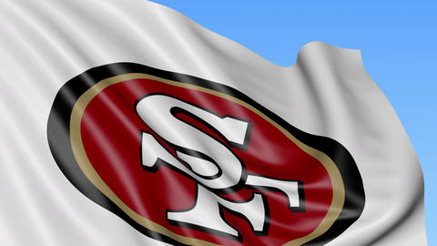 Close-up of waving flag with San Francisco 49ers NFL American football team logo Footage