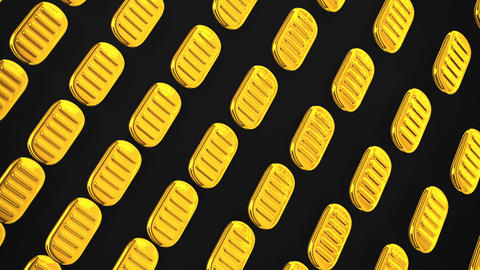Loopable Oval Gold Coins On Black Background Animation