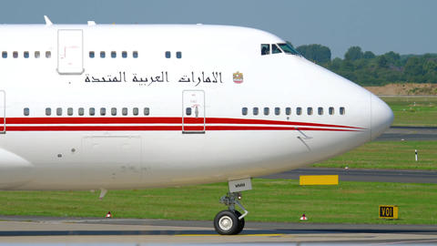 United Arab Emirates Royal Flight Boeing 747 taxiing Footage