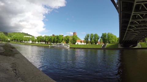 Neris river and historical Gediminas castle in Vilnius, Lithuania. Time lapse Footage