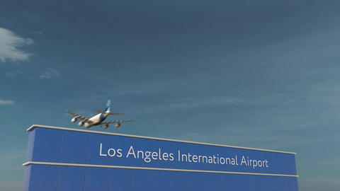 Commercial airplane landing at Los Angeles International Airport 3D conceptual Footage