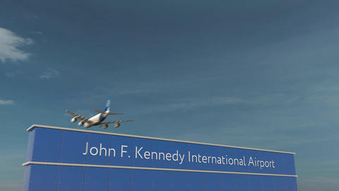 Commercial airplane landing at John F. Kennedy International Airport 3D Footage