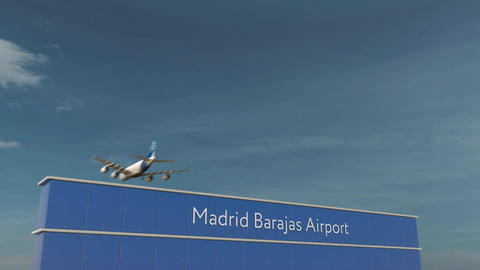 Commercial airplane landing at Madrid Barajas Airport 3D conceptual 4K animation Footage