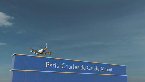 Commercial airplane landing at Paris Charles de Gaulle Airport 3D conceptual 4K Footage