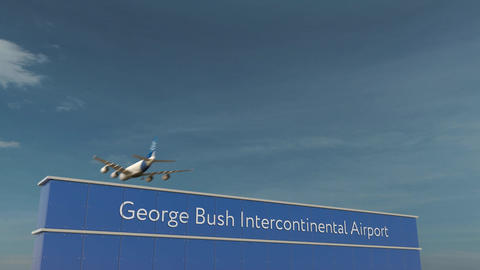 Commercial airplane landing at George Bush Intercontinental Airport 3D Footage