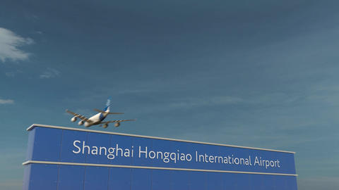 Commercial airplane landing at Shanghai Hongqiao International Airport 3D Footage