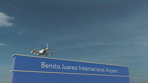 Commercial airplane landing at Benito Juarez International Airport 3D conceptual Footage