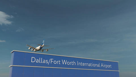 Commercial airplane landing at Dallas Fort Worth International Airport 3D Footage