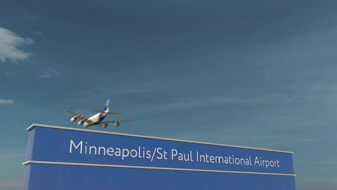 Commercial airplane landing at Minneapolis St Paul International Airport 3D Footage