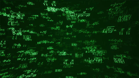 School Math Equations on Chalkboard Flyby loop seamlessly Animation