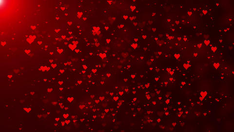 Red love Hearts and glitter lights or bokeh particles animated background Animation