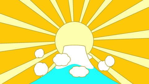 Mountain And Sun Yellow Background Animación