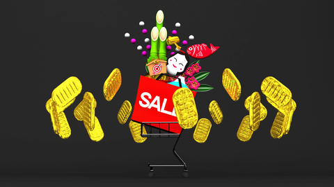Loopable New Year's Ornaments And Cart On Black Background Animation