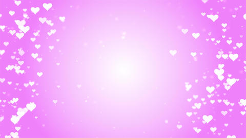 spinning glowing love heart shapes particles with pink background Animation