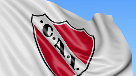Close-up of waving flag with Club Atletico Independiente football club logo Live Action