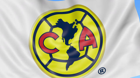 Close-up of waving flag with Club America football club logo, seamless loop Live Action