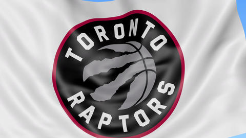 Close-up of waving flag with Toronto Raptors NBA basketball team logo, seamless Live Action