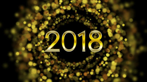 Glowing golden particles New Year 2018 video animation Animación