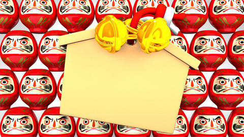 Red Daruma Dolls And Votive Picture On White Background CG動画
