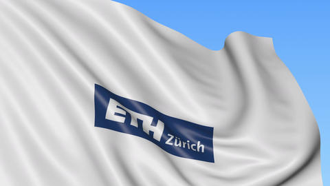 Close-up of waving flag with Swiss Federal Institute of Technology Zurich emblem Footage