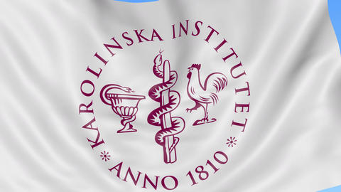 Close-up of waving flag with Karolinska Institute emblem, seamless loop, blue Footage