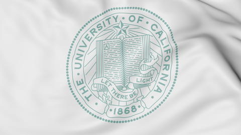 Close-up of waving flag with University of California San Francisco emblem 3D フォト