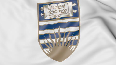 Close-up of waving flag with University of British Columbia emblem 3D rendering Fotografía