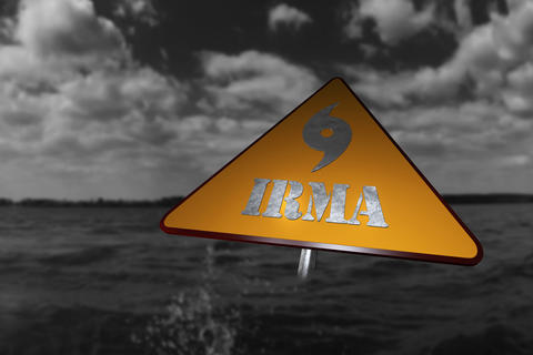 Hurricane Irma Danger Sign and Storm In The Background 3D Render Fotografía