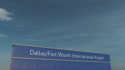 Commercial airplane taking off at Dallas Fort Worth International Airport 3D Footage