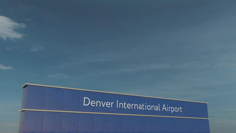 Commercial airplane taking off at Denver International Airport 3D conceptual 4K Footage