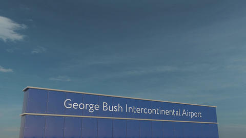 Commercial airplane taking off at George Bush Intercontinental Airport 3D Footage