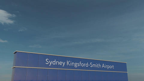 Commercial airplane taking off at Sydney Kingsford-Smith Airport 3D conceptual Footage