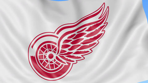 Close-up of waving flag with Detroit Red Wings NHL hockey team logo, seamless Footage
