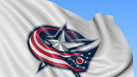 Close-up of waving flag with Columbus Blue Jackets NHL hockey team logo Footage