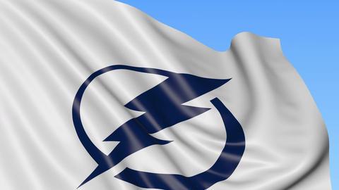 Close-up of waving flag with Tampa Bay Lightning NHL hockey team logo, seamless Footage